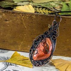 autumn - naszyjnik z zwisiorem - naszyjnik, wisior, miedź, pociechajewelry, jaspis