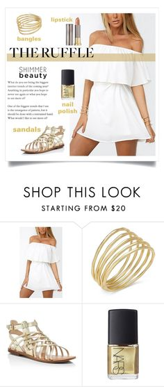 """touch of gold"" by ravinap on Polyvore featuring Barneys New York, Lauren Ralph Lauren, Marc Fisher, NARS Cosmetics, Urban Decay and ruffles"