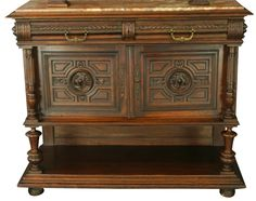 Antique French Renaissance Server Buffet Carved Walnut Marble Slab Top