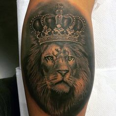 50 Lion With Crown Tattoo Designs For Men - Royal Ink Ideas - Löwe Tattoo - Lion Leg Tattoo, Calf Tattoo, Leg Tattoos, Girl Tattoos, Sleeve Tattoos, Tatoos, Tattoos With Kids Names, Tattoos With Meaning, Tattoos For Guys