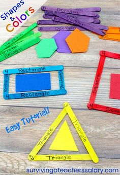 This easy tutorial is great for fine motor skills activities and learning shapes and colors! Whether your toddler is just learning colors or your preschool child is into shapes, this is a great learning activity for quiet time and center activities that can be re-used over and over! Made from craft sticks! #craftsticks #craftstickcrafts #preschool #toddlers #learning #education #shapes #colors #handson #totschool #quiettime #centeractivities #learningideas #school #kindergartenprep #tutorial