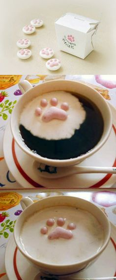 Cat paws marshmallow for your hot drink