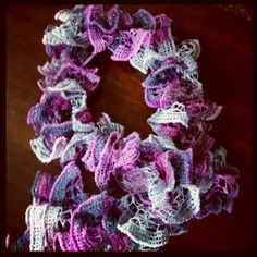 Pirouette yarn in Orchid Shimmer. Knit in an evening, so easy!