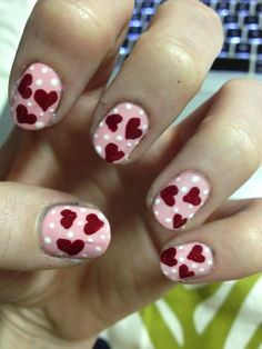 Cute Pink Polka Dot Nail Polish with Heart Red Decoration - Cute Nail Polish Designs
