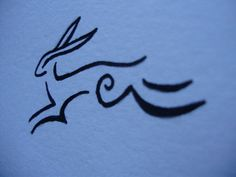 Linear Simple Hare.  Tattoo Design.  by Karen Davis