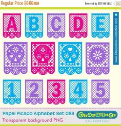 Papel Picado Alphabet Commercial Use Clipart LettersNumbers