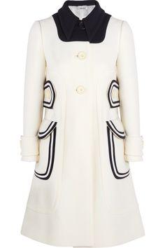 Miu Miu A-Line Wool Piquã Coat in White   Lyst