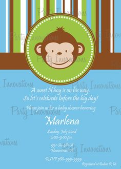 Printable Mod Monkey Invitation plus free by PartyInnovations09, $8.00 - pink and brown with a girl monkey