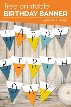 Use this free printable happy birthday banner sign to print and hang to celebrate the next birthday in your home. Printable Crafts, Party Printables, Free Printables, Printable Birthday Banner, Happy Birthday Banners, Party Themes, Party Ideas, School Coloring Pages, Paper Trail
