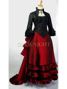Black and Red Two Tone Victorian Dress - Devilnight.