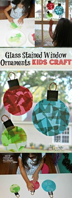 Glass Stained Window Ornaments Kids Craft, DIY and Crafts, Do your kids love creating holiday and Christmas crafts? Check out these beautiful and easy Glass Stained Window Ornaments Kids Craft. Perfect for dec. Christmas Decoration For Kids, Kids Christmas Ornaments, Christmas Window Decorations, Holiday Crafts For Kids, Preschool Christmas, Christmas Crafts For Kids, Xmas Crafts, Diy Crafts For Kids, Glass Ornaments