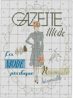 0 point de croix femme gazette mode - cross stich newspaper fashion for ladies
