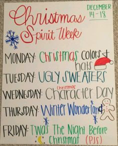 Spirit week DecemberYou can find Spirit week ideas and more on our website.