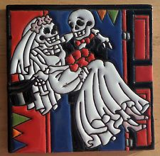 "Talavera Mexican tile 6"" Day of the Dead hirelief Bride Groom Wedding Day Church"