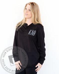 Kappa Alpha Theta Simple Letter Henley by Adam Block Design | Custom Greek Apparel & Sorority Clothes | www.adamblockdesign.com