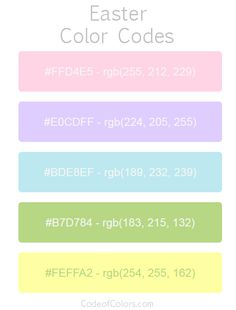 Hexadecimal and RGB Codes for Easter Colors. Hex and RGB Color Palette Schemes to use on Easter Digital Art. What are good colors for Easter Designs? Pantone Colour Palettes, Color Schemes Colour Palettes, Pantone Color, Color Trends, Pretty Notes, Good Notes, Rgb Color Codes, Hex Color Palette, Easter Colors