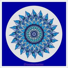Mandala Teardrops aqua blue - digital crossstitch embroidery pattern pdf - 178 x 177 cross stitches - 32 x 32 cm or 13 x 13 inches - created by Droomcreaties Design & Foto Studio (www.droomcreaties.nl)