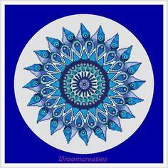 Mandala Teardrops aqua blauw - kruissteek borduurpatroon - 178 x 177 kruissteken - 32 x 32 cm