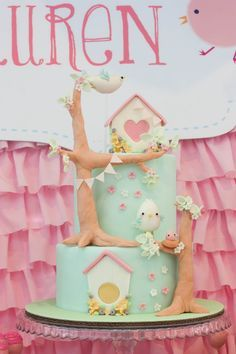 Shabby chic bird cake by Cottontail Cake Studio