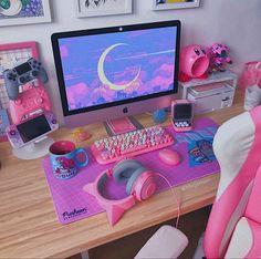 Cute Room Ideas, Cute Room Decor, Bedroom Setup, Room Ideas Bedroom, Aesthetic Rooms, Pink Aesthetic, Gaming Room Setup, Pc Setup, Otaku Room