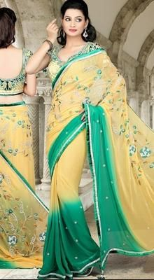 Gorgeous Cream/Greenish Blue Georgette Saree # Buy Indian Designer # Buy exclusive Cotton sarees