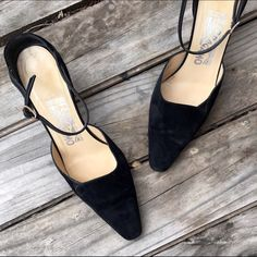 Vintage Ferragamo pointy heels Super chic point black suede heels by Salvatore Ferragamo. Great condition! Salvatore Ferragamo Shoes Heels