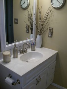Simply Shabby Chic Bathroom Makeover, This is my bathroom done on a budget for my rental home!, After- Changed out the hardware to crystal and satin nickel pulls and knobs. Changed the faucet.  , Bathrooms Design
