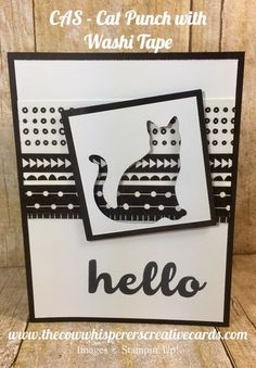 cat punch, washi tape, halloween, hello friends, stampin up, cas, clean and simple, easy