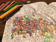 """""""Further progress on my #fantasticcities #adultcoloringbook but not enough because it is SO HARD #whydidichoosethislife"""""""