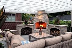 Imposing Outdoor Fireplace Designs to Add Warmth at Patio: White Pergola Design Ideas Applied In Outdoor LIving Space Finished With Best Outdoor Fireplace Designs Unit ~ SFXit Design Furniture Inspiration Diy Pergola, Wooden Pergola, Outdoor Pergola, Pergola Shade, Pergola Kits, Backyard Patio, Outdoor Decor, Outdoor Seating, Pergola Ideas