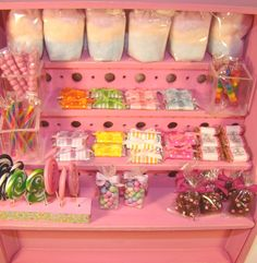 "TheFabulousFarmhouse.com 1/12"" Scale Miniature Dollhouse Pink Shelf Display Chocolates Lollipops Toffee Rainbow Bubble Gum Sticks Old fashioned Candy Sticks Brownies Cotton Candy"