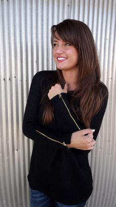 Zipped Up Sweater - Black | The Rage. LOVE LOVE BLACK SEATERS WITH GOLD TONED ZIPPERS