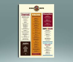Best business and advertising designs of May. King Jefe taco bar menu design by ALD-design. #chicken #restaurant #branding