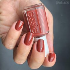 @essie - Bed Rock & Roll - Rocky Rose Collection 2019. This is described as a deep red-toned brown. It's so gorgeous and shiny and the…