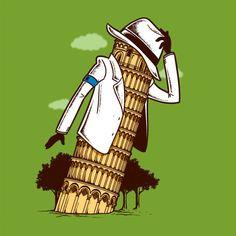 "Michael ""Tower of Pisa"" Jackson! Art Michael Jackson, Michael Art, Hee Man, Music Humor, Funny Music, Funny Art, Humor Grafico, Illustrations, Cultura Pop"