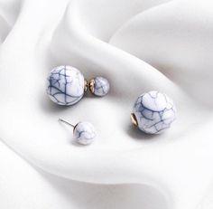 Double Ballin Marble Earrings in White