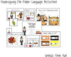 Speech Time Fun: Thanksgiving File Folder Language Activities!