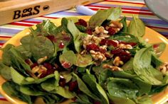 Spinach Salad with Dried Cranberries, Walnuts and Pomegranate Vinaigrette