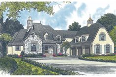 European Style House Plan - 4 Beds 5.50 Baths 4747 Sq/Ft Plan #453-44 Exterior - Front Elevation - Houseplans.com