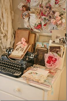 Surrounded By the Sweetness of Vintage Photos, Cards, Lace, Ribbons, Typewriter, etc.