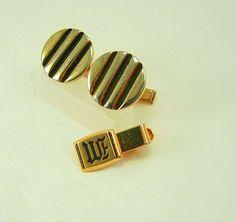 Vintage deco stripe cufflinks initial w or m by NeatstuffAntiques, $25.00