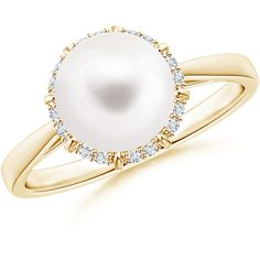 Victorian Style Freshwater Cultured Pearl and Diamond Ring (1 770 PLN) ❤ liked on Polyvore featuring jewelry, rings, solitaire ring, 14 karat gold diamond ring, diamond solitaire rings, diamond rings and victorian diamond ring