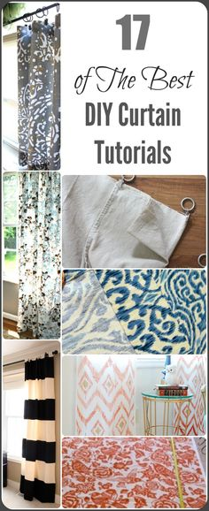 Here are some of my top favorite DIY Curtain Tutorials from some of the best bloggers on the web! These tutorials will help you with everything from sewing your own curtains to making 'no sew' curt...