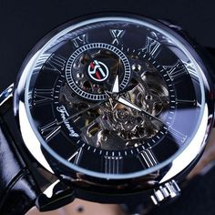 Forsining Men Watches Top Brand Luxury Mechanical Skeleton Watch Black Golden 3D Literal Design Roman Number Black Dial Designer