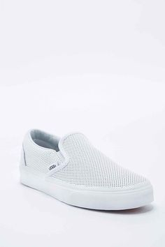 brand new 56f76 4d051 Vans Classic Slip-On Shoes in Perforated White