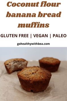 This is the best easy and healthy vegan and gluten free recipe. This very simple recipe uses 2 bananas, coconut flour and cinnamon, no eggs and no butter. With this recipe you will learn how to make homemade paleo and AIP compliant moist muffins. #banana #muffins #paleo #glutenfree #AIP #vegan Coconut Flour Banana Bread, Banana Flour, Vegan Banana Bread, Gluten Free Banana, Almond Flour, Recipes Using Coconut Flour, Baking With Coconut Flour, Coconut Recipes, Banana Bread Recipes