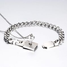 UPDATE: LIMITED STOCK AVAILABLEOnce the bracelet is put on it won't come off without his necklace! A true promise bracelet of real loveThe Heart Lock Bracelet & Key Necklace for couples is a reminder of true love. Promise Bracelet, Heart Bracelet, Bracelet Set, Necklace Chain Lengths, Key Necklace, Stone Necklace, Pendant Necklace, Couple Necklaces, Couple Jewelry