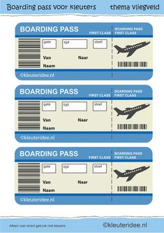 boarding pass for role play. Airport Theme, Dramatic Play Area, Airplane Party, Airplane Kids, Transportation Theme, Play Centre, Thinking Day, Travel Themes, Learning Centers