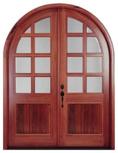 Arch Top Mahogany Doors - Beautiful 8' high pre-hung true divided lite double entry door available in Mahogany or Walnut.  Price includes sh...
