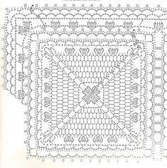 Crochet and arts: motif Filet Crochet, Crochet Motifs, Crochet Blocks, Crochet Diagram, Crochet Chart, Crochet Squares, Crochet Granny, Crochet Doilies, Crochet Stitches